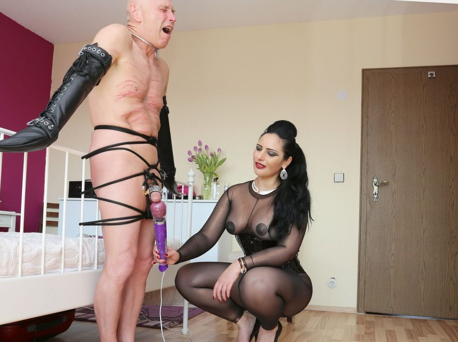 Busty Blonde Tranny Domme Controls Her Slave